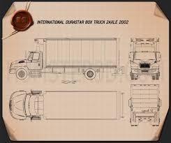 international durastar box truck 2002 blueprint hum3d