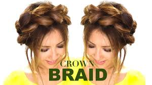 hair braiding styles step by step pull through crown braid updo hair tutorial easy braids