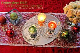 momma of dos christmas centerpieces with glade scented candles
