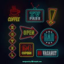 neon lights signs with details vector free