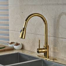 Kitchen Sink Faucet With Sprayer Columbine Gold Finish Kitchen Sink Faucet With Pull Out Sprayer