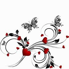 abstract pattern butterfly saint valentines day heart floral abstract background with butterfly