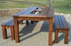 Plans For Outdoor Picnic Table by Kruse U0027s Workshop Patio Party Table With Built In Beer Wine Ice