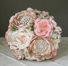fabric flower brooch wedding bouquet custom colors vintage