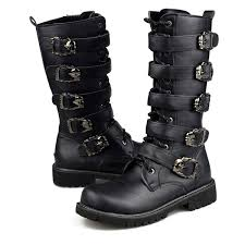 s boots buckle army boots leather combat metal buckle