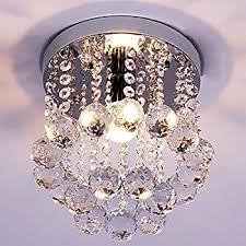 Light Fixture Chandelier Mini Style 1 Light Flush Mount Crystal Chandelier Amazon Com