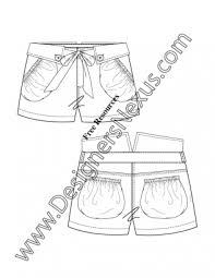 v93 bubble pocket folded waistband shorts illustrator flat fashion