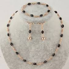 gold black bead necklace images Free shipping fashion women 39 s gold color black austrian crystal jpg