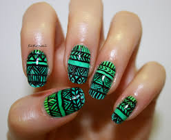 gradient tribal pattern nails