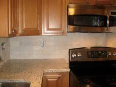 Subway Tile Backsplash Kitchen With Medium Wood Cabinets Google - Brown subway tile backsplash