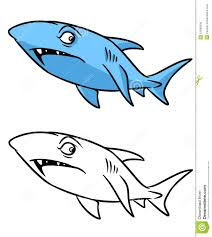 shark coloring page cartoon illustration stock illustration