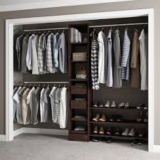adjustable shelves dark brown wall mount wood closet systems