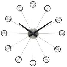 unique wall clocks metal material black alumunium hour hand round
