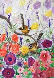 phong trinh watercolors nz fantails in cottage garden watercolor