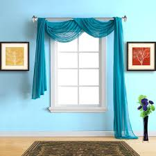 warm home designs faux linen blue teal sheer curtains in 5 sizes