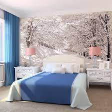 papier peint moderne chambre murs idées déco chambre papier peint forêt hivernal 42 idées de
