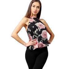 halter neck blouse ne s floral chiffon halter neck