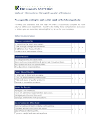 manager evaluation template the performance appraisal