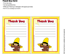 thank you card for curious george thank you cards birthday party pbs parents pbs