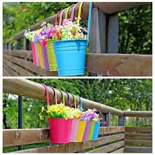 home decor flower 10pcs 10 colours fashion metal iron flower pot hanging balcony