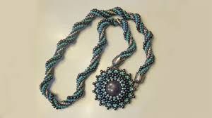 beaded necklace rope images Beadsfriends beaded necklace resin cabochon bezeled with beads jpg