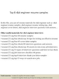 Resume Templates For Engineers Top 8 R U0026d Engineer Resume Samples