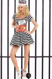 Womens Prisoner Halloween Costume Black White Prisoner Love Costume Clubwear Party