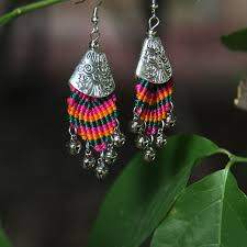 thailand earrings thailand colorful rope bell braided feather shape earrings 303 in