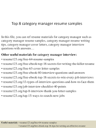 Managers Resume Sample by Top 8 Category Manager Resume Samples 1 638 Jpg Cb U003d1429861708