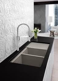 blanco kitchen faucet parts bathroom merola tile wall with black granite countertop