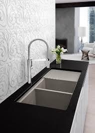 bathroom small daltile backsplash with kraus sinks and blanco