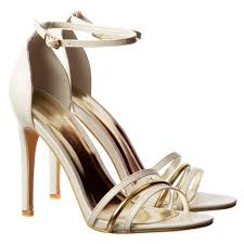 onlineshoe ankle strap mid heels party sandals gold detail