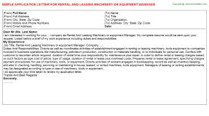 rental and leasing machinery or equipment manager application letter