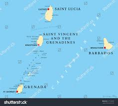 Map Of The Caribbean Islands Barbados Grenada Saint Lucia Saint Vincent Stock Vector 617318780