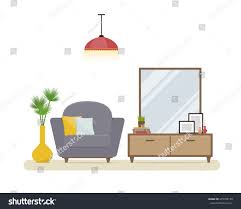apartment interior stylish living room grey stock vector 475708150