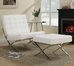 modern armchair with ottoman barcelona chair white white modern accent chair shown with ottoman