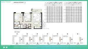golf views by emaar 1 bedroom apartment 1b floor plan