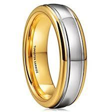 gunmetal wedding band 6mm unisex or women s tungsten wedding band gold and silver