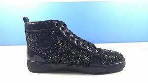 christian louboutin rantus glitter black high sneakers christian