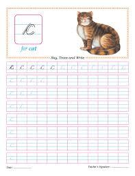 cursive small letter c practice worksheet cursive pinterest