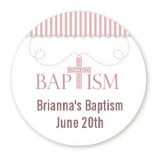 baptism necklace cross pink necklace personalized sticker labels cross pink