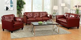 Leather Recliner Sofa And Loveseat Pierre Contemporary Style Double Stitched 3 Pcs Red Leatherette