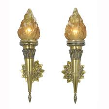 Torch Wall Sconce with Pair Of Antique Torch Sconces With Flame Shades Ant 399 For Sale