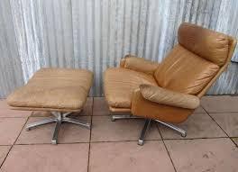 Leather Armchair With Ottoman Mid Century Leather Lounge Swivel Chair With Ottoman For Sale At