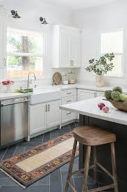 Polished Kitchen Floor Tiles - gray slate herringbone floor with gray kitchen island
