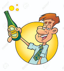 funny man proposing a toast with a bottle of beer stock photo