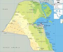 kuwait on a map physical map of kuwait ezilon maps