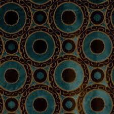 Geometric Fabrics Upholstery Peacock Blue Velvet Geometric Fabric Brown Blue Suzani