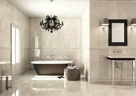 Marble Bathroom Ideas White Marble Wall Added By Black Metal Chandeliers Lamp Over Black