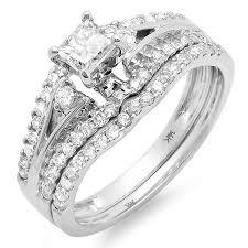 14k gold wedding ring sets 1 carat princess wedding ring set in 14k white